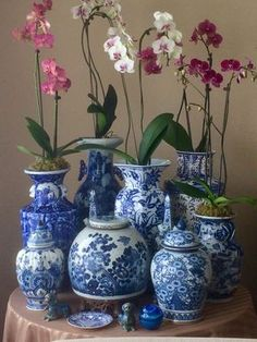 Blue and white pottery with orchids Blue And White Vase, Navy Blue, Enchanted Home, Blue Pottery, Ceramic Pottery, Pottery Barn, White Dishes, Blue China, Ginger Jars