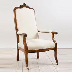 French Antique Louis Philippe Style Armchair in Walnut, c. 1870