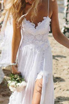 Spaghetti Straps White Lace Chiffon Backless Beach Wedding Dress