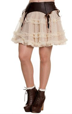 Spin Doctor Sally Steampunk Skirt with chocolate brown vinyl fake suspenders and tiered swiss dot polka sheer ivory lace skirt.