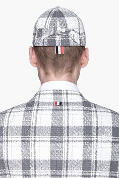 Thom Browne Grey and White Exclusive Cap @ $295