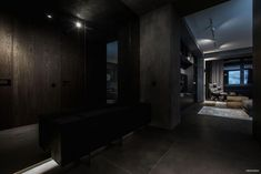 """This modern home interior is a project designed by YoDezeen, covers an area of sq. and is located in Kiev. """"One of our typical twilight interiors. The main goal of this project is [. Apartment Interior, Home Interior, Interior Architecture, Interior Design, Rustic Tv Console, Concrete Interiors, Modern Interiors, Interior Photography, Entertainment Room"""