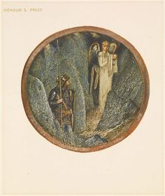 The Flower Book - Honour's Prize By Sir Edward Burne-Jones 1905 Circular image. An angel carrying a covered cup, leads a knight holding a spear and shield, through rocks.