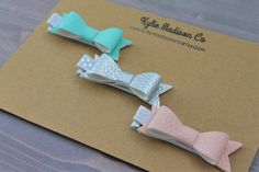 mint, silver, and blush faux leather petite hair bow clip (set of 3), baby hair clips by KylieMadisonCo on Etsy