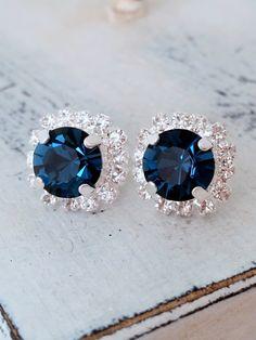Navy blue earrings,studs,Swarovski crystal stud earrings, Bridal earrings,navy blue bridesmaid gifts,navy blue stud earrings, silver or gold by EldorTinaJewelry on Etsy https://www.etsy.com/listing/186812424/navy-blue-earringsstudsswarovski-crystal