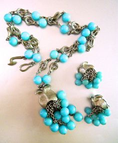 Turquoise Beaded Lavalier Necklace & Earring by RenaissanceFair