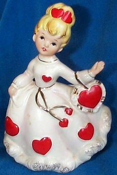 Vintage Relpo Ceramic Valentine's Day Girl Planter Vase A-1840 Relpo