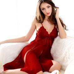 Sexy Lingerie Nightwear Red Lace Ladies Cleavage Sleepwear Baby Doll