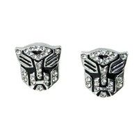 Amazon.com: Transformer Autobot White Crystal Silver Tone Stud Earrings: Jewelry