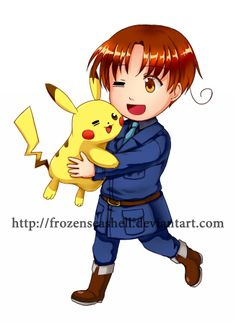 """HetaPoke- N. Italy + Pikachu by FrozenSeashell.deviantart.com on @deviantART - First in a series pairing Hetalia characters with Pokémon. From the artist's comments: """"Italy is partnered with Pikachu simply because they both are the main character XD"""""""