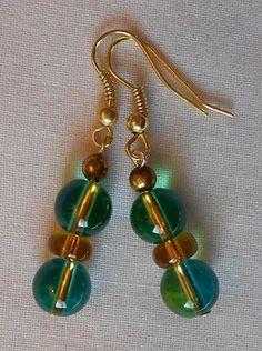 Handmade Earrings Neon Blue and Green Marble With Beads Amber Spacer Beads 2013