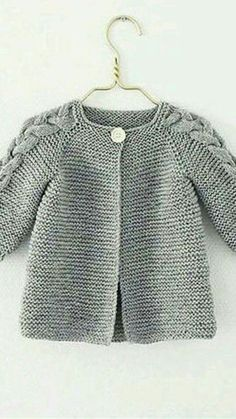 Toddler knit coat with cable on shoulders