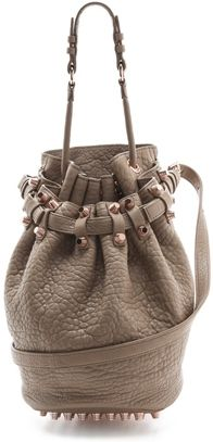 Alexander Wang Diego Bucket Bag with Rose Golden Hardware in Latte