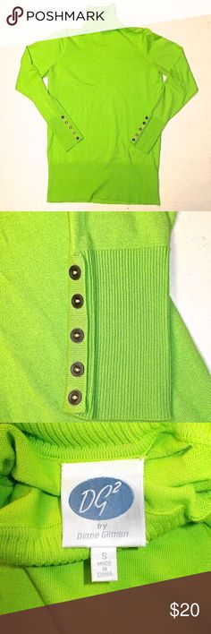 "DG2 womens lime green turtleneck sweater, S This DG2 by Diane Gilman  sweater is new and has never been worn. It is made from cotton, rayon, nylon and spandex, so it will hold it's shape and will not fade. The fabric feels like cotton. There is a lot of attention to details, like the ribbing at the waist and wrists. And then the buttons. This is a quality product, not like the disposable clothing that has taken over many of our stores. Measurements are bust, 18""; length, 26""; sleeve length…"
