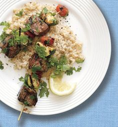 Wednesday Dinner: Beef Kebabs and Creamy Brown Rice Could have done without the sugar in the rice.