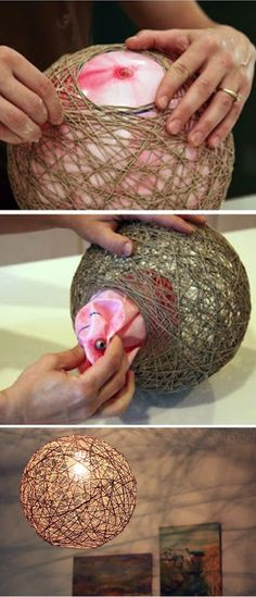 24 Easy And Cheap Crafts to Make and Sell… - Diy und Selbermachen Home Crafts, Diy Home Decor, Diy And Crafts, Arts And Crafts, Crafts To Make And Sell Ideas, Garden Crafts, Twine Crafts, Diy Crafts Lamp, Diy Crafts Cheap