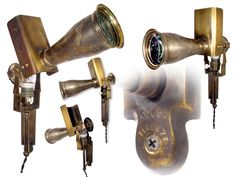 """Early Brass Articulated Medical Spot Light This is an early wall mounted and articulated long lens medical spot light. It's signed """"Coppi Firenze"""" and measures 15""""x15"""". The socket and switch paddle are both porcelain. It's rewired with black fabric covered twisted cord."""