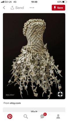 Fairytale Paper Dress Paper Sculpture by MalenaValcarcel on Etsy Paper Fashion, Fashion Art, Fashion Design, Paper Clothes, Paper Dresses, Barbie Clothes, Recycled Dress, Recycled Clothing, Newspaper Dress