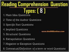 Reading Comprehension Question Types [8] - Online GRE Revised