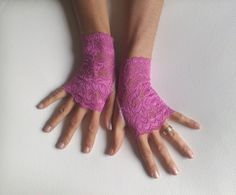 fuchsia  lace gloves free ship wedding prom bridal by GlovesByJana, $21.00