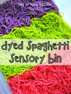 Preschool Dyed Spaghetti Sensory Bin - Stay at Home Educator A dyed spaghetti sensory bin is the perfect addition to any sensory play. Learn how to dye cooked spaghetti for sensory bins to add to your Sensory Tubs, Baby Sensory, Sensory Activities, Sensory Play, Infant Activities, Classroom Activities, Sensory Boards, Sensory Bottles, Preschool Cooking Activities