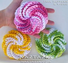 DIY Free Pattern by Judith Prindle and YouTube Video by Donna Wolfe from Naztazia for Crochet Spiral Scrubbies (Scrubby Scrubbers)