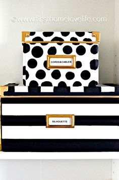 Kate Spade inspired storage boxes to hide away all of those loose office items! (She got her boxes from IKEA... Such a cheap DIY!!)