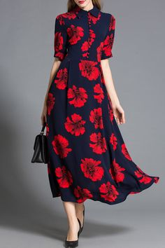 Natural House Purplish Blue Red Flower Print Buttoned Dress | Maxi Dresses at DEZZAL
