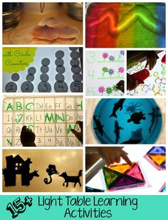 Light Table Learning Activities for Kids - Where Imagination Grows Preschool Learning Activities, Play Based Learning, Preschool Crafts, Fun Learning, Toddler Activities, Fun Activities, Crafts For Kids, Light Board, Sensory Bins