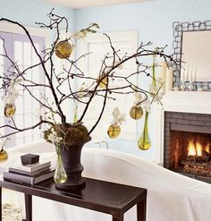 What a perfect alternative to a christmas tree - it means you can go on holiday and not worry about pine needles on the floor  = the white makes the room look cool on a hot day !
