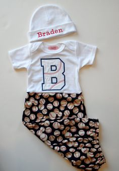 Baseball Monogram Baby Boy Clothes Layette Gown and by LilMamas, $38.00
