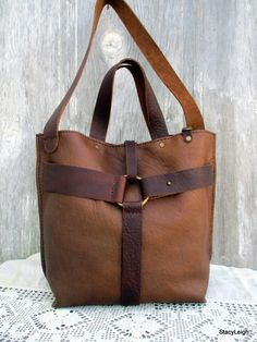Equestrian Harness Bag in Two Tone Brown Leather by Stacy
