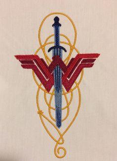 Wonder Woman lasso & sword machine embroidery design 5x7 by StringTheoryFabArt on Etsy https://www.etsy.com/listing/532817666/wonder-woman-lasso-sword-machine