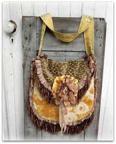 Created from a menagerie of vintage materials and a few new trims... cut velvetleopard mixes with ... gorgeous vintage pale yellow and cream