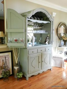 Bar....put a mirror on the back of an old Armoire