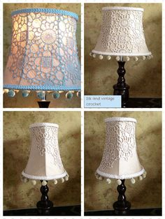 Vintage crochet and silk lampshade