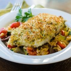 Pesto-Parmesan Crusted Halibut.