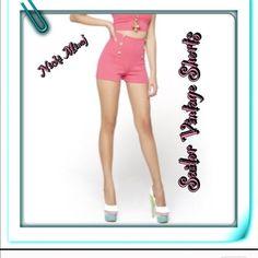 "Nick Minaj Sailor Shorts So uniquely FRESH! dark pink in color; 78%polyester/8% rayon/4% spandex; pull on design; sailor in style distinctive vintage; hip hugging w/modern flair, high-waist. 3 gold buttons w/""Nicki Minaj"" inscription on each side of front panel. Eye-It...Buy-It! Nicki Minaj Shorts"