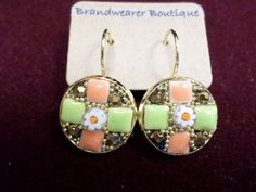 Mosaic Tiled Earrings in Melon and Green  https://www.etsy.com/listing/179456176/mosaic-tiled-earrings-in-melon-and-green