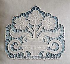 cutwork embroidery | Cutwork lace Flower Vase Machine Embroidery Design