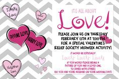 Love relief society activity. Love enrichment night. Valentines relief society. valentines enrichment. Such a fun activity! and she gives you a blank version of the invite, so all you have to do is add your ward's date and time!!! LOVE!