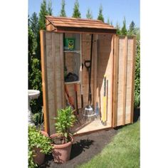 Greenstone 3 ft. x 2 ft. Cedar Garden Hutch Tool Shed-GS32ACGH - The Home Depot