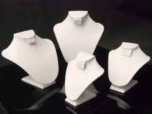 This 4 piece necklace and earring display is made out of white leatherette and is only $50 at Mannequin Madness
