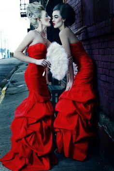 red ruffled dresses