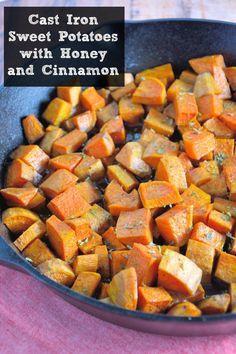 Cast Iron Sweet Potatoes with Honey and Cinnamon Recipe- peeled sweet potatoes…