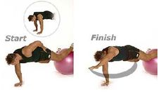 One-Arm Prone Bridge with Feet on Sissel Ball Assume push-up position, with your legs extended, feet and shins on the Sissel ABS exercise ball. With both hands aligned under shoulders, place left hand on left hip, balancing on the right arm. When you are balanced, begin moving left arm away from hip until the hand is extending forward (inside of elbow beside ear). Return left hand back to hip. Release and repeat right side.