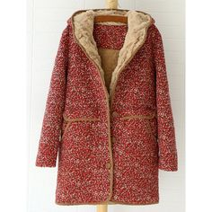 Tiny Floral Print Fashionable Hooded Coat