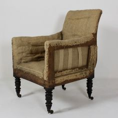 Scottish Regency Upholstered Library Armchair - Decorative Collective Antiques Online, Selling Antiques, House Numbers, Chair Design, Regency, Painted Furniture, Armchair, Upholstery, Home Decor