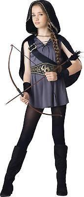 Halloween Cosplay Costume Tween Kids Hooded Huntress X-Large Grey/Black Cape New