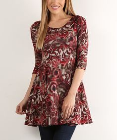Red Abstract Pleat Scoop Neck Tunic - Plus Too